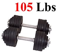 One Pair of Adjustable Dumbbells Cast Iron Total 105 Lbs (2 X 52.5 Lbs)