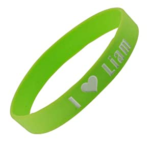 Line Green One Direction Wristband I Love Liam Wristband Bracelet 05 Wide 21 from Hinky Imports