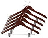 Closet Complete Wood Suit Hanger with Pant/Skirt Clips, Mahogany, Set of 5