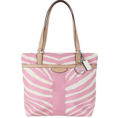 Coach 23283 Signature Stripe Zebra Print Tote - Pink Tulle & Tan