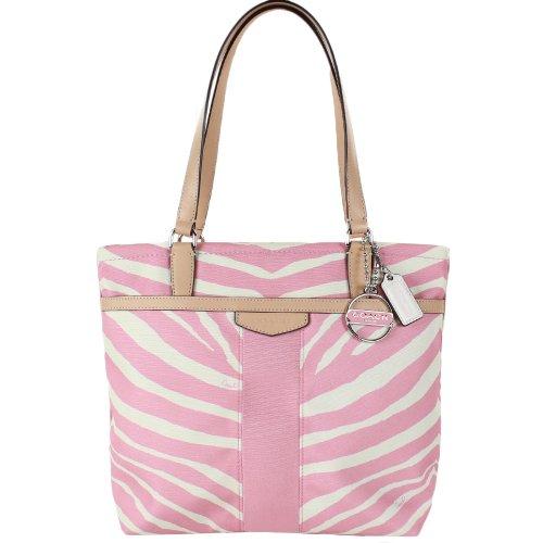 Coach  Coach 23283 Signature Stripe Zebra Print Tote - Pink Tulle & Tan