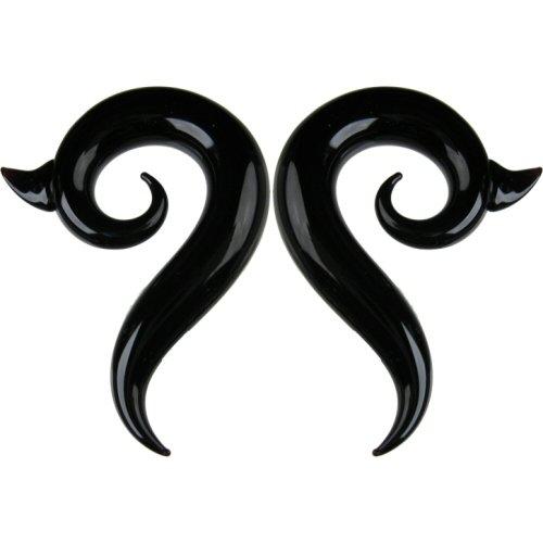 Pair of Glass Borneo Spirals: 000g Black
