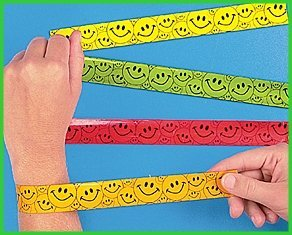 12 Smiley Face Slap Bracelets