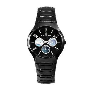 Skagen Men's 817SXBC1 Ceramic Black Day and Date 24-Hour Watch