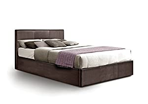 Otto-Garrison Ottoman Double Storage Bed Upholstered in Faux Leather, 4 ft 6, Brown by Otto-Garrison