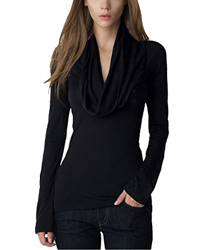 DJT Womens Fashion Ruched Cowl Neck Tops Crossover Faux Wrap Long Sleeve Tunic Tees Shirts Blouse Black Size L