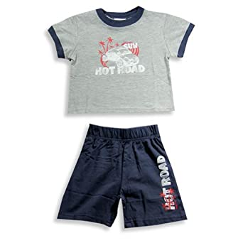 Mish - Toddler Boys Short Sleeve Knit Short Set, Grey, Slate 16129-3T