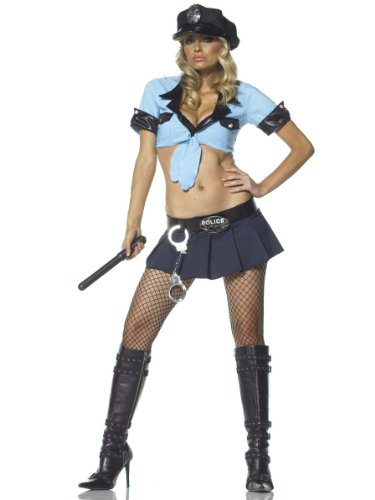 Sexy 6 Pc Police Costume Cop Uniform Theatre Costumes Blue Skirt Crop Top
