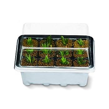 Gunsamg Seedling Starter Trays Plant Germination Kit,144 Cells, Plus 10 Plant Tags(12 Trays,12 Cells Per Tray)