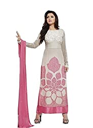Decent World Pink Georgette Designer Dress Material