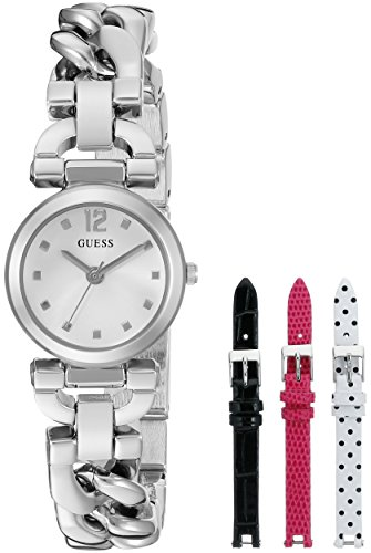 guess-womens-u0712l1-feminine-silver-tone-watch-set-with-metal-bracelet-and-3-interchangeable-leathe