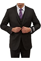 Classy Mens Notch Lapel Two Button 3pc Slim Fit Suit