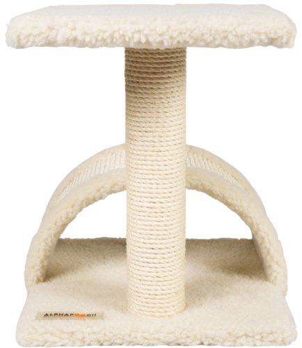 AlphaPooch Purrgola Ledge Cat Scratch Post, Fleece with Natural Sisal Rope