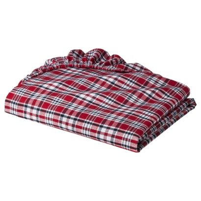 Plaids and Stripes Boys Red Plaids Crib Sheet