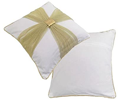 Cream with Gold Bow Ready Filled Christmas -Wedding- Christening Cushion