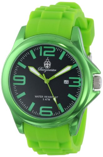 Burgmeister Fun Time Women's Quartz Watch with Black Dial Analogue Display and Green Silicone Strap BM166-090D