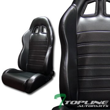 Topline Autopart Sp Sport Black Stitch PVC Leather Reclinable Racing Bucket Seats Sliders L+R T01 (Racing Seats For 98 Dodge Neon compare prices)