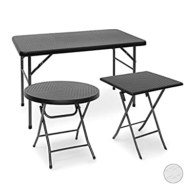 Relaxdays BASTIAN Patio Table Folding Table in Different Shapes and Colors, Folding Table for Backyard, Balcony or Porch with Metal Frame, Rattan Look Side Table or Camping Table, Black, White, Brown
