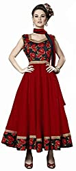 Jiya Presents South Cotton Anarkali Dress Material(Red)