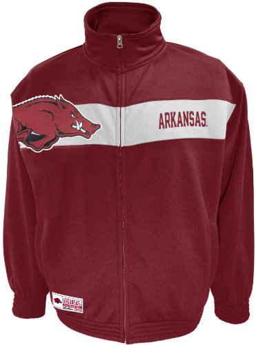 NCAA Men's Arkansas Razorbacks Victory March Full Zip Jacket (True Cardinal/White, X-Large) at Amazon.com