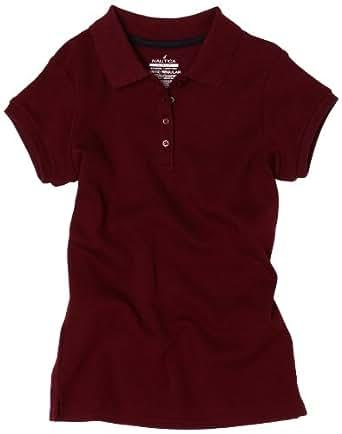 Nautica Big Boys' Uniform Short Sleeve Pique Polo, Burgundy,L(14/16)