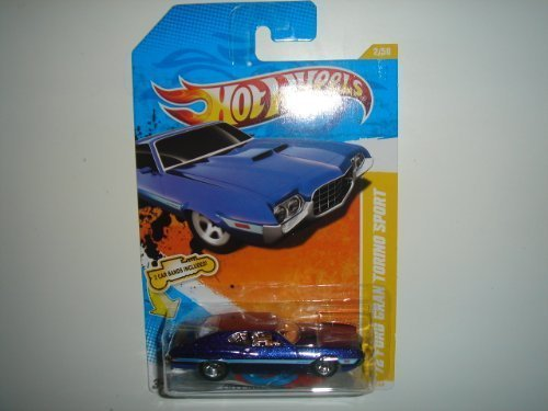 2011 Hot Wheels New Models '72 Ford Gran Torino Sport Blue on 2 Car Bands Included Card #2/244