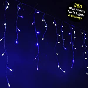 werchristmas 360 led snowing icicle christmas lights. Black Bedroom Furniture Sets. Home Design Ideas