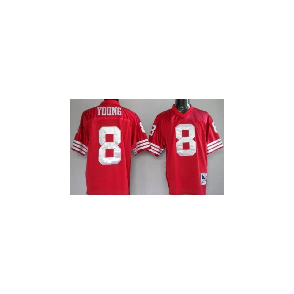 Steve Young #8 San Francisco 49ers Replica Throwback NFL Jersey Red Size 52 (XL)