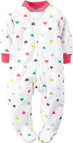 Carters Baby Girls Microfleece Zip-Up Sleep & Play Heart Print Ivory 6M
