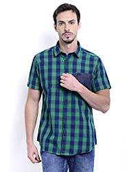 Sting Green Check Slim Fit Half Sleeve Cotton Casual Shirt For Men
