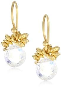 """Lulu Designs """"Sky"""" Moonstone and Vermeil Silver Nugget Drop Earrings"""