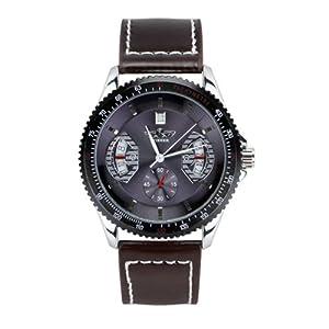Seasonwind Mens Analog Skeleton Fashion Leather Band Full-automatic Mechanical Wrist Watch Blue