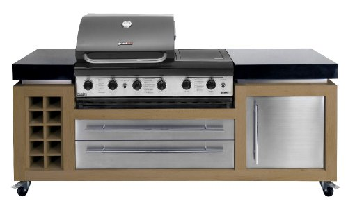Ingarden Outdoor Kitchen. Oak , Stainless Steel & Granite Outdoor Kitchen Unit With Bbq