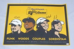 WOODS ANNIKA COUPLES +GOLF SIGNED SKINS GAME POSTER JSA by Press Pass Collectibles