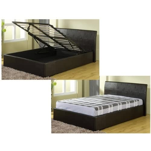 4ft 6in Black Gas Lift Up Double Ottoman Storage Bed Black Faux