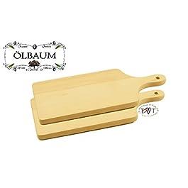 Juego de tablas de servir, (grosor: 16 mm, cantos redondeados, superficie: 35 x 16 cm, , madera natural de haya, 2 unidades)