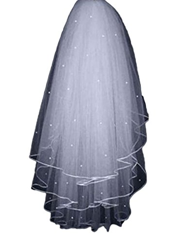 Tsbridal 3 Layer Beading Short Tulle with Comb Bride Wedding Veil (White)