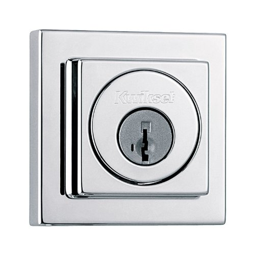 Kwikset 993 Square Contemporary Single Cylinder Deadbolt Featuring Smartkey® In Polished Chrome front-956487
