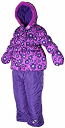 PINK PLATINUM Little Girls Toddler Floral Print Puffer Jacket & Snow Pants in Plum4T
