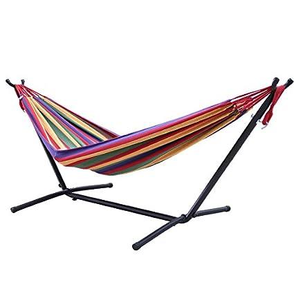 QER-Outdoor Indoor hamaca Soporte extraíble portátil montaje de estante hierro balcón cama columpio Hamaca camping viajes soporte equipo de camping, b