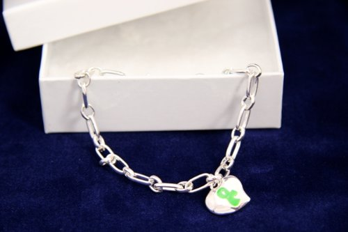 Green Ribbon Bracelet-Silver Linked w/ Puffed Heart (18 Bracelets)