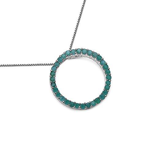 SchmuckMart Silvancé Damen Collier 925 Silber Rhodiniert Smaragd 45cm P1662E