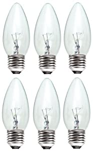 6 x STATUS 40W Classic Clear ES E27 Candle Light Bulbs, Edison Screw Cap, Dimmable Incandescent Lamps, 389 Lumen, Mains 240V from STATUS