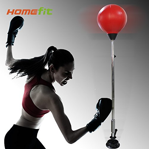 Lifeforce Hot Sale Stress Relif Fist Hitting Speed Boxing Punching Ball Bag Suction Cup Base, Adjustable Height From 90-146cm Perfect for Children & Adult Indoor Exercise Fitness Equipment