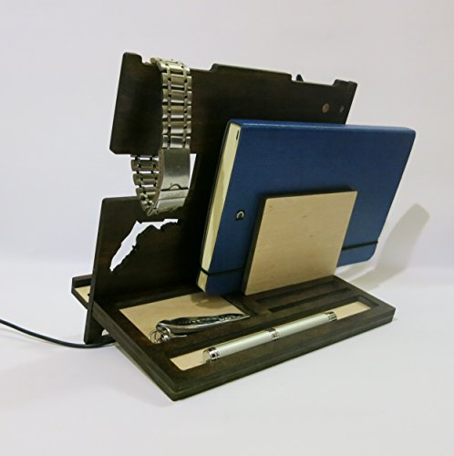 Dock-station-from-dark-wood-Florida-dock-station-cool-mens-gift-Personalised-dock-station-tablet-holder-ipad-stand-Girlfriend-gift