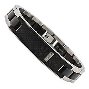 Men's Titanium ID Bracelet with Black Carbon Fiber Inlay and CZ 8.5