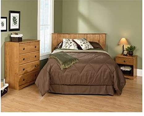 Beautiful Amber Pine Bedroom Set Includes Full Queen Headboard, 4 Drawer Chest Bureau and Nightstand.