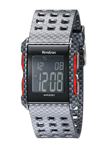 Armitron Sport Men's 40/8177CRB Digital Carbon Fiber Patterned Watch With Perforated Resin Strap (Carbon Fiber Dial Watch compare prices)