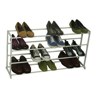 20 Pair Shoe Rack White Storage Rack Metal Shelf Home Organizer Holder