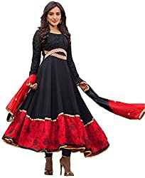 Siya Fashion women's Faux Georgette Party Wear Unstitched Dress Material(si44_Black color)